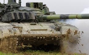 Picture field, dirt, tank, combat, T-72