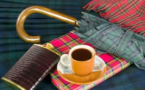 Picture umbrella, background, coffee, scarf, owner, Cup, flask, notebook