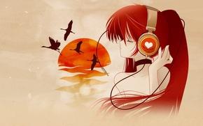 Picture girl, sunset, birds, music, mood, anime, headphones, art, red. the sun