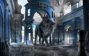 Picture girl, Leo, ruins, fantasy, carles marsal