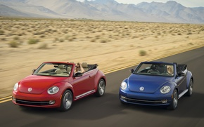 Picture Volkswagen, Beetle, red and blue