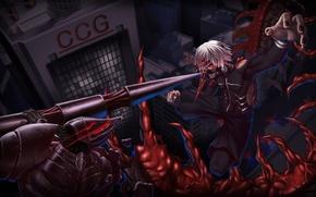 Picture night, the city, weapons, mask, guys, the battle, art, Gul, tokyo ghoul, Ken kanek, claw, …