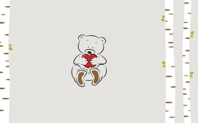 Picture trees, heart, minimalism, bear, bear, heart, illustration, ted