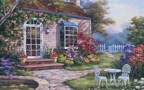 Picture flowers, house, picture, garden, yard, painting, painting, Sung Kim