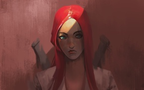 Picture girl, art, red, lol, League of Legends, Katarina, katarina, riot games, Sinister Blade