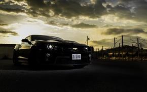 Picture clouds, black, the evening, Chevrolet, black, chevrolet, Camaro, camaro zl1