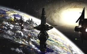 Wallpaper orbital complex, planet, science fiction, futuristic landscape, Rich35211, Scott Richard, future, space, space, stars, station, ...