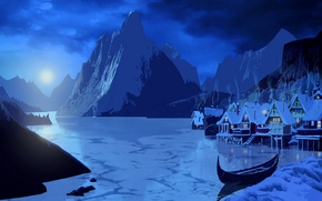 Picture snow, landscape, mountains, night, lights, lake, the moon, smoke, home, Canoeing