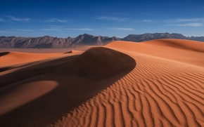 Picture sand, the sky, clouds, mountains, the dunes, the wind, desert, dunes