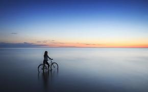 Picture sea, girl, sunset, bike