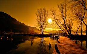 Picture landscape, sunset, bridge, lake