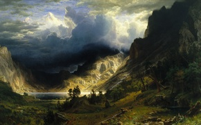 Picture the sky, mountains, clouds, nature, photo, picture, painting