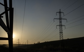 Picture the sky, sunset, Power lines