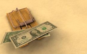 Wallpaper money, mousetrap, the bucks