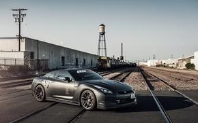 Picture black, rails, Nissan, GT-R, black, Nissan