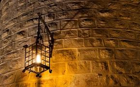 Picture light, metal, wall, lantern, brick, light bulb, Wall lamp, curved