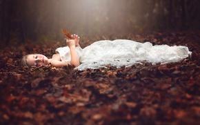 Picture autumn, forest, stay, dress, Julia Altork, Heirloom