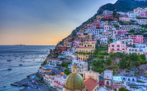 Picture sea, landscape, coast, building, Italy, Bay, Italy, Campania, Amalfi Coast, Positano, Positano, Gulf of Salerno, …