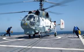 Wallpaper ship, Helicopter, landing, ka 27, Navy