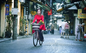 Picture girl, bike, the city, street, Asian