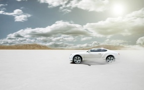 Picture Bentley, Continental, Desert, White, Bentley, Car, Sun, White, Disert