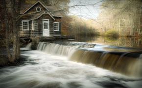 Wallpaper landscape, house, river, waterfall