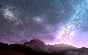 Picture the sky, mountains, night, the milky way, natures