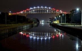 Wallpaper lights, Sous-Sainte-Marie, Ontario, bridge, night, Canada, river