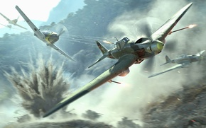 Wallpaper The sky, Mountains, Dust, The plane, Trees, Smoke, Aircraft, Fire, Fighter, The explosion, Earth, Sparks, ...