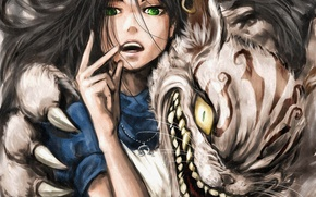 Picture cat, girl, anime, art, claws, Alice in Wonderland, alice, alice: madness returns, cheshire cat