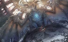 Picture dragon, wings, scarf, warrior, art, steps, male, cporing