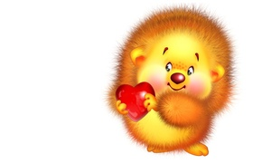 Picture holiday, heart, art, Valentine, hedgehog, children's