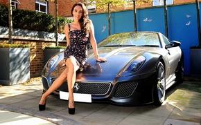 Picture look, girl, Auto, Girls, Ferrari