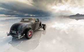 Picture reflection, desert, the evening, Utah, 1933, hot rod