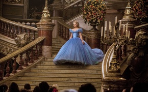 Picture candles, dress, ladder, hall, Cinderella, Lily James, Lily James