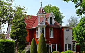 Picture trees, house, Netherlands, mansion, the bushes, Holland, Naarden, the netherlands