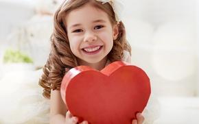 Picture Heart, Smile, Children, Girl, Valentine's Day