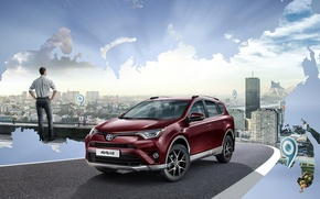 Picture Toyota, Car, Burgundy, Exclusive, 2016, RAV4, Metallic
