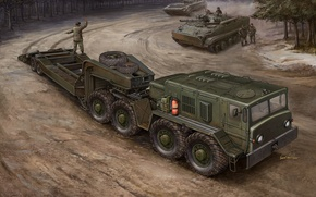 Picture engine, art, artist, Russia, military, tractor, for, The BMP-3, saddle, designed, conveyor, transportation, goods, loading, …