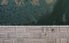 Picture ocean, water, people, bay, height, dock, above