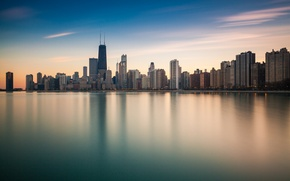 Picture the city, reflection, the ocean, shore, skyscrapers, Chicago, Illinois, panorama