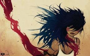 Picture girl, the wind, hair, art, fabric, ravenskar