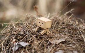 Picture grass, leaves, robot, danbo, a bunch