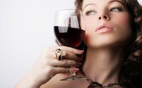Wallpaper wine, glass, girl