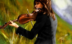 Picture violin, figure, painting, Lindsey Stirling