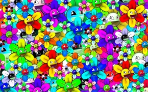 Wallpaper flower, abstraction, bright, smiley