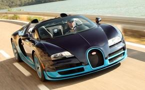 Picture Roadster, Bugatti Veyron, black, blue, Grand Sport, Vitesse