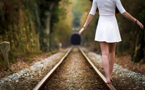 Picture girl, rails, legs, Railroad
