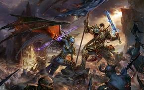 Wallpaper monsters, weapons, wings, art, warrior, demoness, banner, battle, sword, the battle
