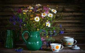 Wallpaper coffee pot, wildflowers, bouquet, sweet peas, still life, chamomile, Cup, summer, sugar bowl, buttercups, dishes, ...